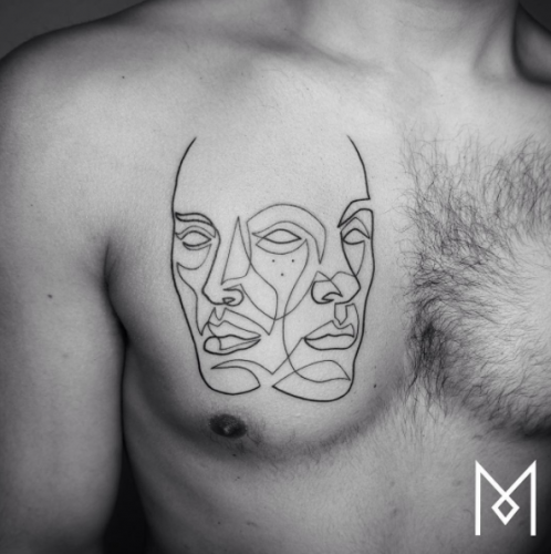 Straight Line Tattoo Artist Uk : Artist creates tattoos by using only one continuous line